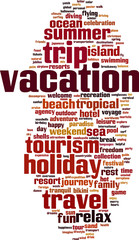 Vacation word cloud concept. Vector illustration