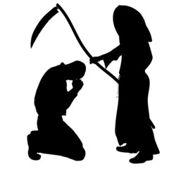 Vector silhouette of a man with the Grim Reaper.
