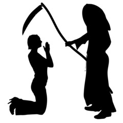 Vector silhouette of a woman with the Grim Reaper.