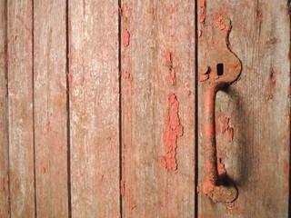 Vintage door handle on old stable door