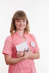 Portrait of girl in a medical shirt