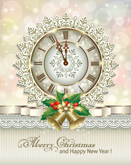 Christmas card with bells and clock