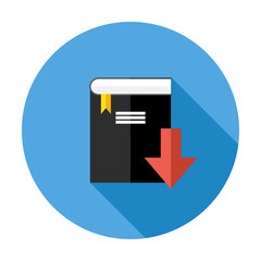 Book Download Flat Circle Icon