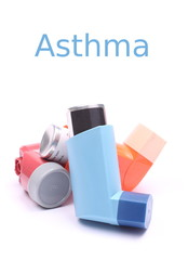 Asthma inhalers isolated over white with sample text
