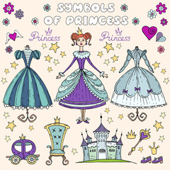 Vector illustration with cartoon princess in blue