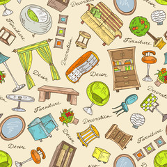 Vector pattern with hand drawn furniture for decoration