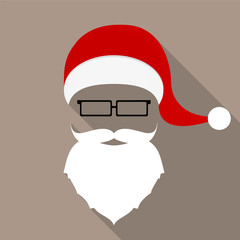 Santa hat, mustache, beard and glasses. flat icon