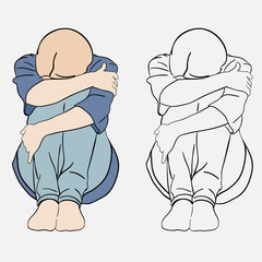 Vector illustration, girl, crying