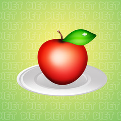 Apple in the plate