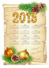 English Calendar 2015 in retro style