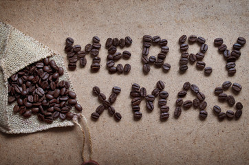 Merry Christmas made of beans coffee