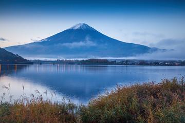 The beautiful mount Fuji in Japan at sunrise