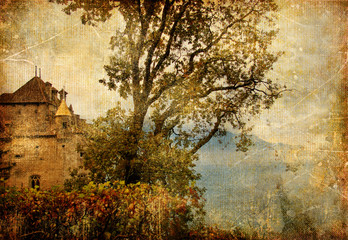 medieval Chillion castle, Swiss, artistic vintage picture