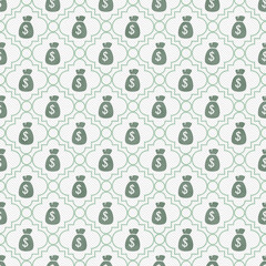 Teal and White Money Bag Repeat Pattern Background