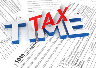 Tax Form and 3D Tax Time text