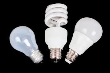 Three generations of lights - regular incandescent, energy savin