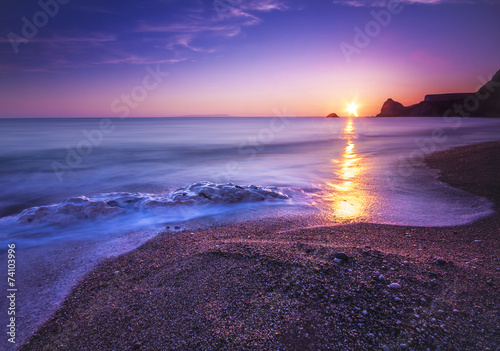Poster Serene South Dorset Beach and Sea at Sunset