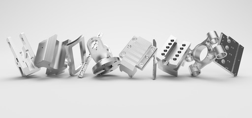 metal parts standing in row on white background