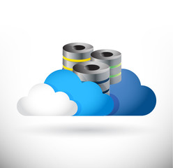 set of clouds and storage servers illustration