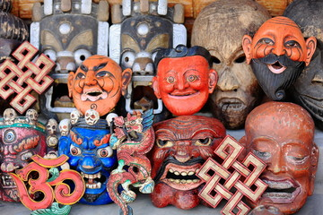 Set of traditional masks. Pokhara-Nepal. 0748