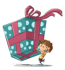 niño con regalo muy grande