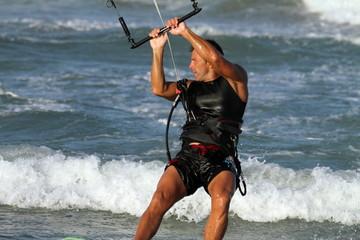 Kite surfer, Cullera beach, Valencia, Spain