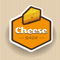 Cheese shop label or badge vector