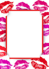 lipstick kiss frame with red slit corners
