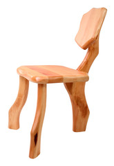 Wooden chair with three legs