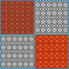 Four seamless ethnic patterns