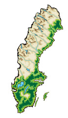 Sweden Map Vector Illustration isolated on a white background