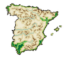 Spain Map Vector Illustration isolated on a white background