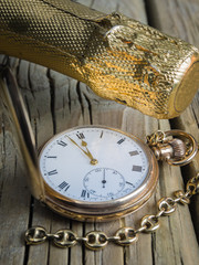 pocket watch with champagne bottle