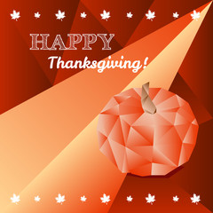 Vector Thanksgiving greeting card in trendy polygonal style with