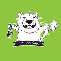 Vector black and white hand drawn cartoon cat with beer