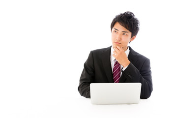 asian businessman on working image