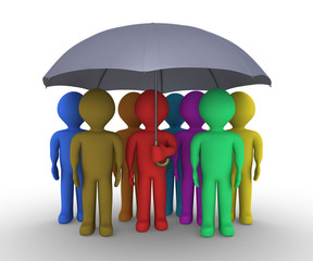 Different people under umbrella