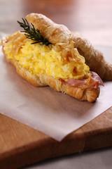 Delicious breakfast croissant