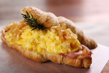 Delicious breakfast croissant