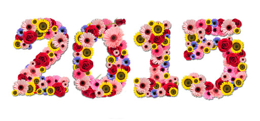 2015, new year made from flowers isolated on a white background