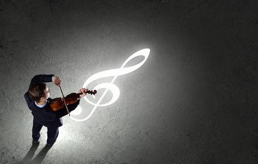 Businessman with violin