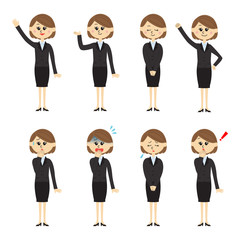 Set of a new employee, woman, vector illustration