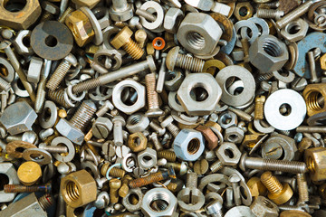 iron screw nuts background