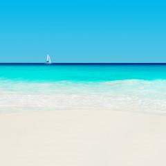 Yacht at tropical sandy beach. Anse Georgette, Praslin island, S