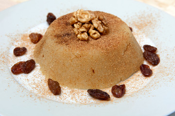 semolina halva sweet desert on plate