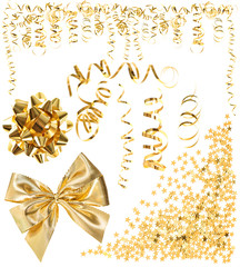 golden serpentine streamer, confetti, ribbon bow