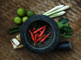 Thai Food : Seasoning ingredients of Tom-Yum - 03 (Dark)