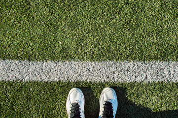 sport shoes on the line