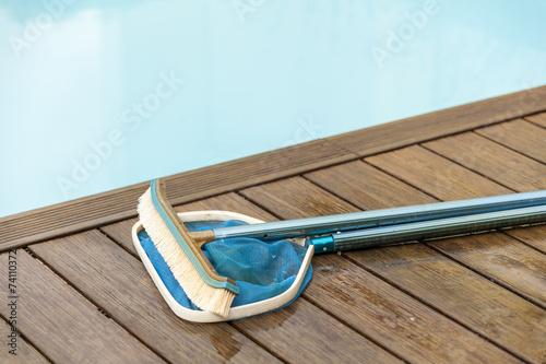 Brush and Leaf Skimmer Beside Swimming Pool - 74110372
