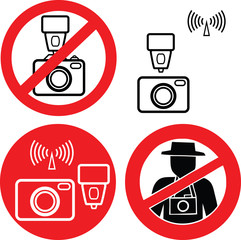 No photo camera vector signs isolated on white background.